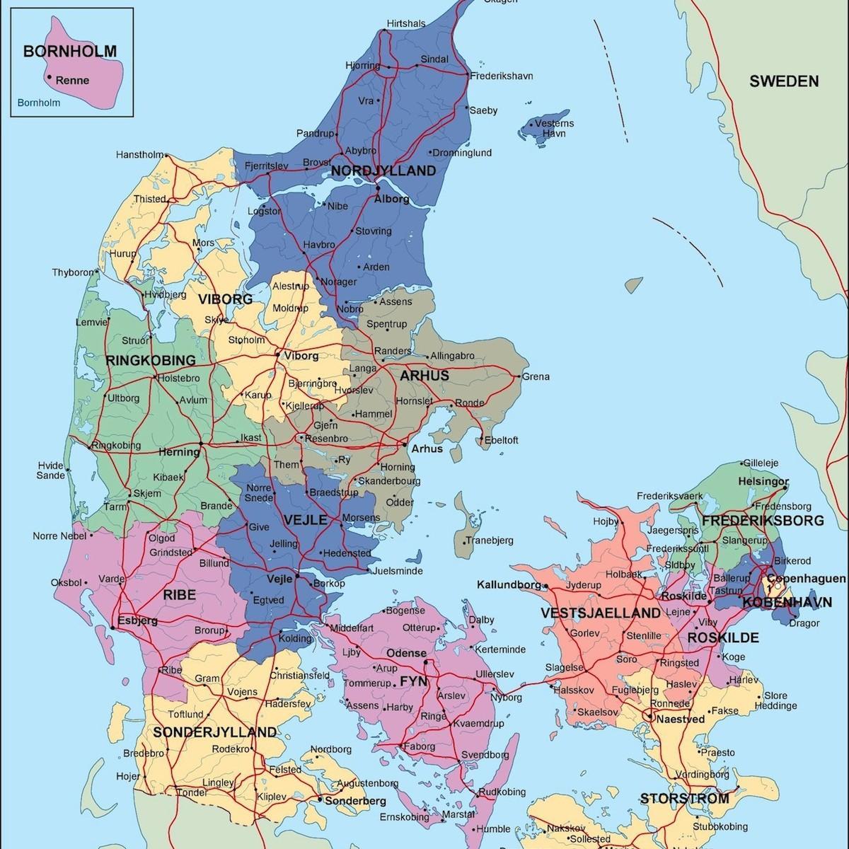 Polityczne Dania Mapa Danii Politycznej Europa Polnocna Europa