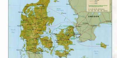 Fizyczna Mapa Dania Mapa Fizyczna Dania Europa Polnocna Europa